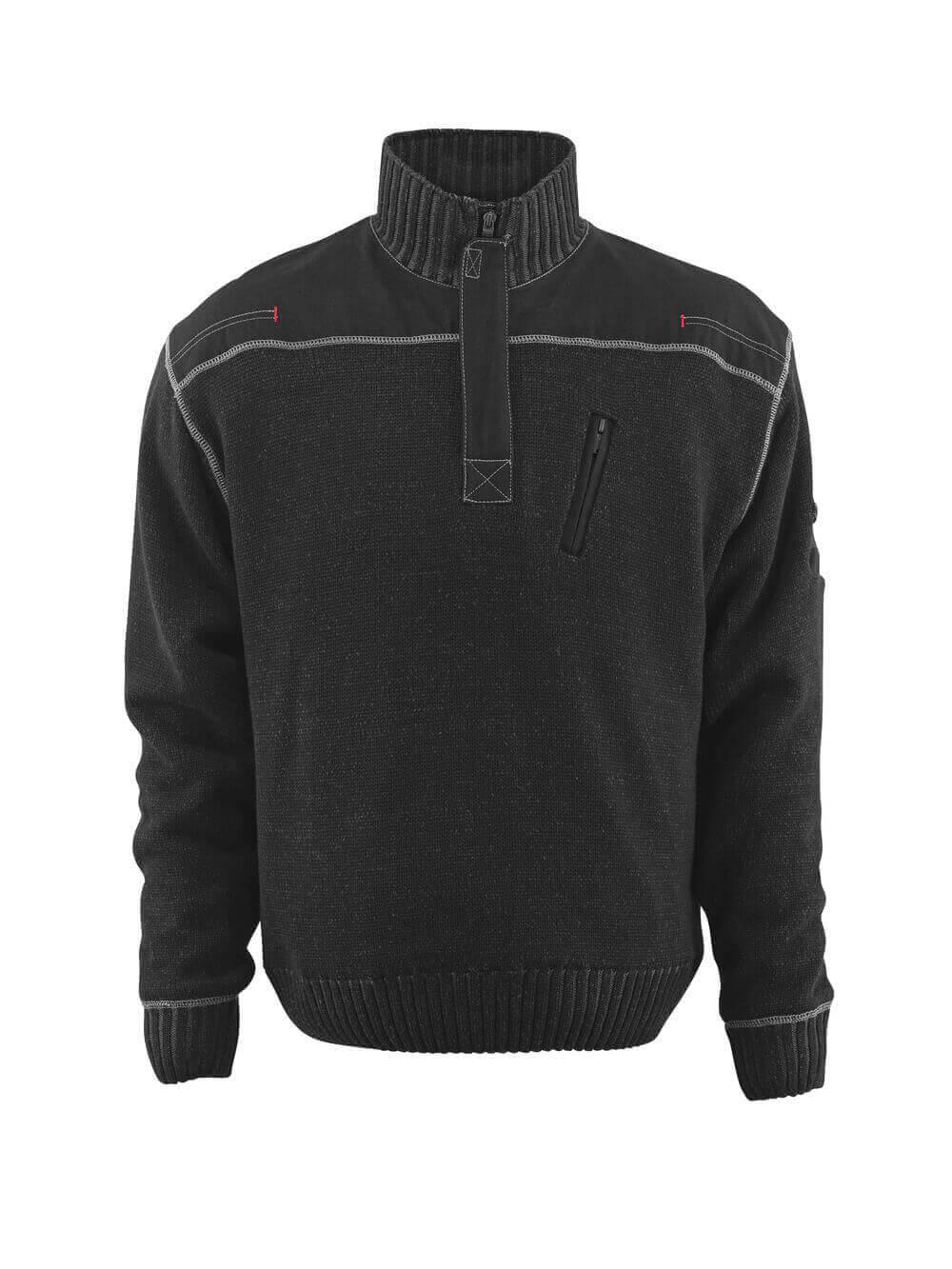 50354-835-09 Stickad tröja med kort blixtlås - svart