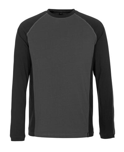 50504-250-1809 T-shirt, långärmad - mörk antracit/svart
