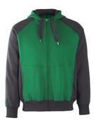 50509-811-0309 Huvtröja med blixtlås - grön/svart