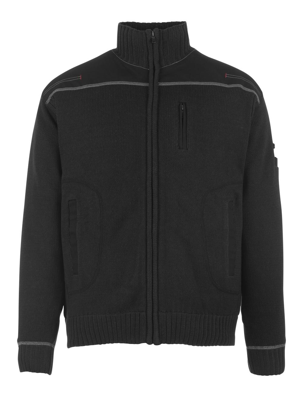 50530-835-09 Stickad tröja med blixtlås - svart