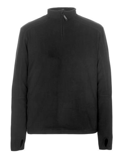 50531-923-09 Fleecetröja med kort blixtlås - svart